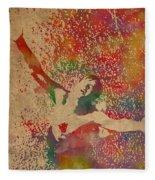 The Shawshank Redemption Movie Inspired Watercolor Portrait Of Tim Robbins On Worn Distressed Canvas Fleece Blanket