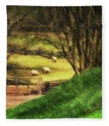 The Sheep's In The Meadow Fleece Blanket