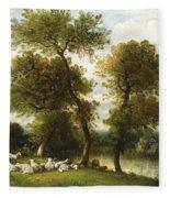 The Shepherd's Break With  His Sheep Fleece Blanket