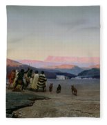 The Shepherds Led By The Star Arriving At Bethlehem Fleece Blanket