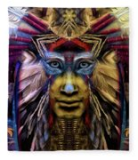 The Sioux Spirit - The Plumed Lion Fleece Blanket