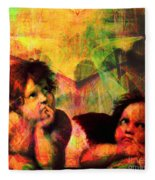 The Sistine Modonna Baby Angels In Abstract Space 20150622 Square Fleece Blanket