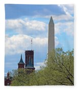 The Smithsonian Castle And Washington Monument In Green Fleece Blanket