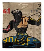 The Spirit Of Detroit Statue Recycled Michigan License Plate Art Homage Fleece Blanket