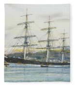 The Square-rigged Australian Clipper Old Kensington Lying On Her Mooring Fleece Blanket