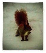 The Squirrel In The Winter Garden Fleece Blanket