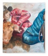 The Steer Wrestler Fleece Blanket