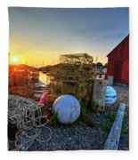 The Sun Rising By Motif 1 In Rockport Ma Bearskin Neck Lobster Traps Fleece Blanket