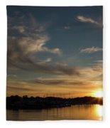 The Sun Sets In Milford Fleece Blanket