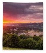 The Sun Sets Over Hexham Fleece Blanket