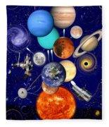 The Sunflower Solar System Fleece Blanket
