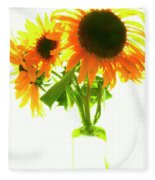 The Sunflowers In A Glass Vase. Fleece Blanket