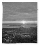 The Sunrise From Cadillac Mountain In Acadia National Park Black And White Fleece Blanket
