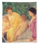 The Swim Or Two Mothers And Their Children On A Boat Fleece Blanket