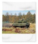 The Tank T-72 In Movement Fleece Blanket