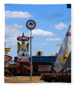 The Tee-pee Curios On Route 66 Nm Fleece Blanket