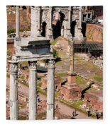 The Temple Of Castor And Pollux At The Forum From The Palatine Fleece Blanket
