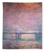 The Thames At Charing Cross Fleece Blanket