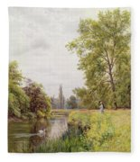 The Thames At Purley Fleece Blanket