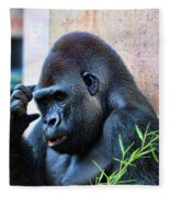 The Thinking Gorilla Fleece Blanket