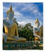 The Three Buddhas  Fleece Blanket