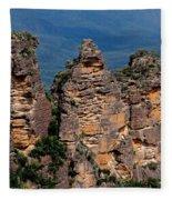 The Three Sisters Katoomba Australia Fleece Blanket