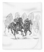 The Thunder Of Hooves - Horse Racing Print Fleece Blanket