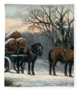 The Timber Wagon In Winter Fleece Blanket