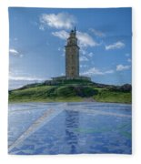 The Tower Of Hercules And The Rose Of The Winds Fleece Blanket