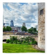 The Tower Of London And The City District With Gherkin Skyscraper, The Uk Fleece Blanket