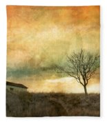 The Tree And The Roof Top Fleece Blanket
