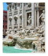 The Trevi Fountain In The City Of Rome Fleece Blanket