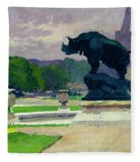 The Trocadero Gardens And The Rhinoceros Fleece Blanket
