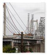 The Two Carquinez Bridges At Crockett And Vallejo California . Aka Alfred Zampa Memorial Bridge . 7d8919 Fleece Blanket