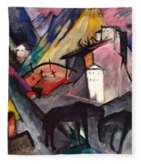 The Unfortunate Land Of Tyrol Franz Marc Painting Of Horses In A Valley Near A Cemetery  Fleece Blanket