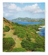 The View From Fort Rodney On Pigeon Island Gros Islet Blue Water Fleece Blanket