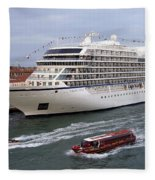 The Viking Star Cruise Liner In Venice Italy Fleece Blanket