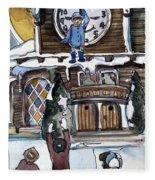 The Village Clock Fleece Blanket