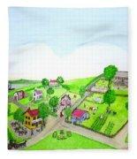 The Village - Colonial Style Art Fleece Blanket