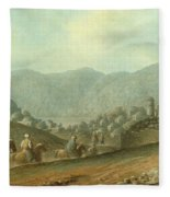 The Village Of Betania With A View Of The Dead Sea Fleece Blanket