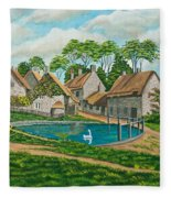 The Village Pond In Wroxton Fleece Blanket