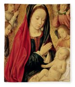 The Virgin And Child Adored By Angels  Fleece Blanket
