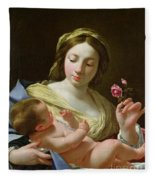 The Virgin And Child With A Rose Fleece Blanket