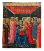 The Virgin And Child With Angels Fleece Blanket