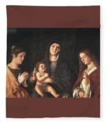 The Virgin And Child With Two Saints Prado Giovanni Bellini Fleece Blanket