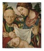 The Virgin And Saint Joseph  Adoring The Christ Child Fleece Blanket