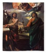 The Virgin Appearing To Saints John The Baptist And John The Evangelist 1520 Fleece Blanket