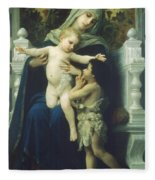 The Virgin Baby Jesus And Saint John The Baptist Fleece Blanket