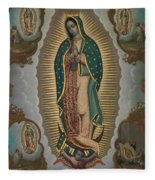 The Virgin Of Guadalupe With The Four Apparitions Fleece Blanket