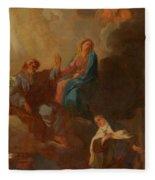 The Virgin Placing St Teresa Under The Protection Of St Joseph Fleece Blanket